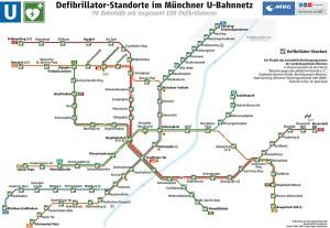 Defibrillator-Standorte im Münchener U-Bahnnetz